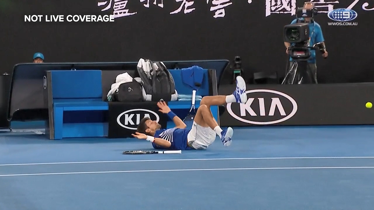 Djokovic takes a tumble