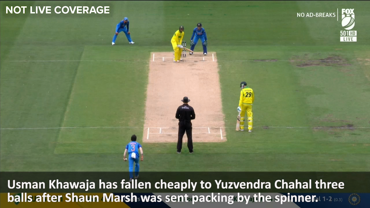 Khawaja caught bowled by Chahal