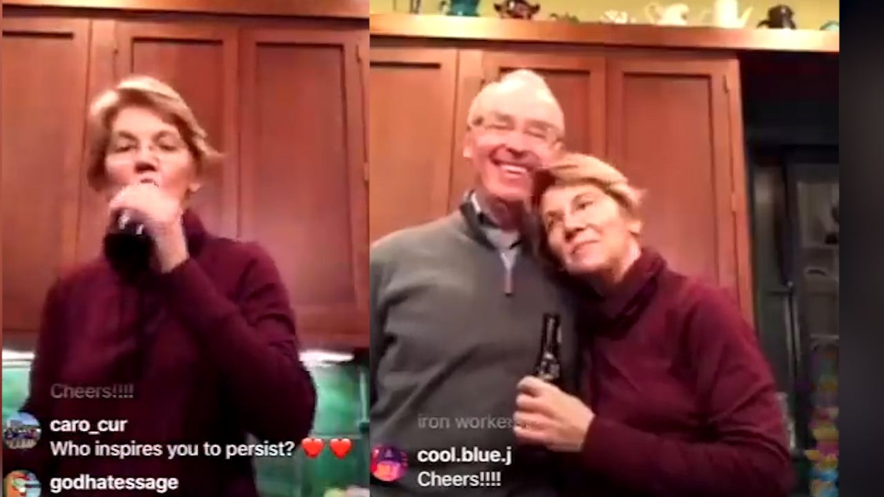 Senator Elizabeth Warren drinks a beer in chatty Instagram video