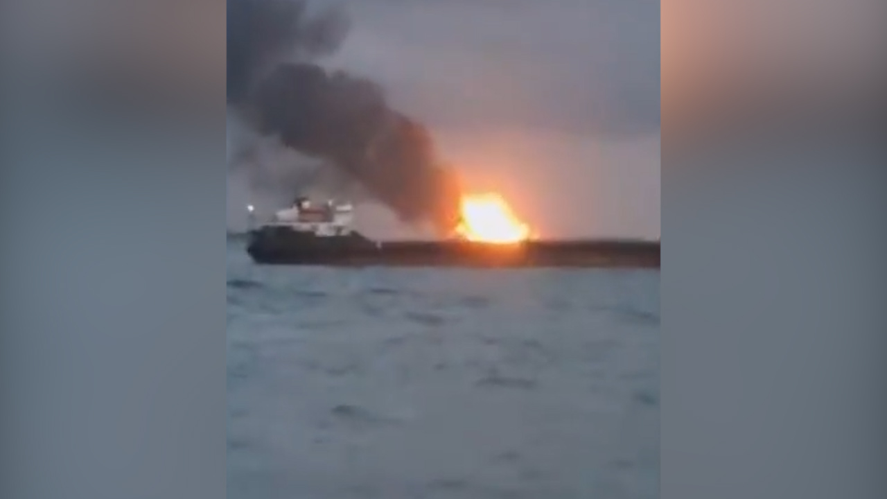 At least 10 dead after ships catch fire off Crimea
