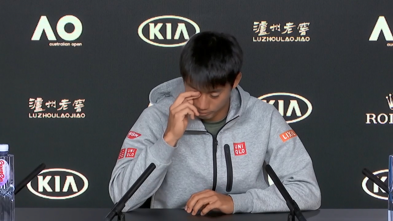 Nishikori fights back tears