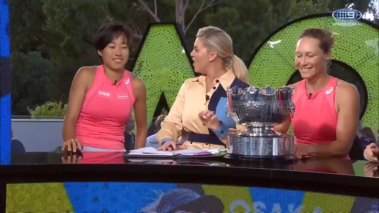 Stosur and Zhang discuss title win