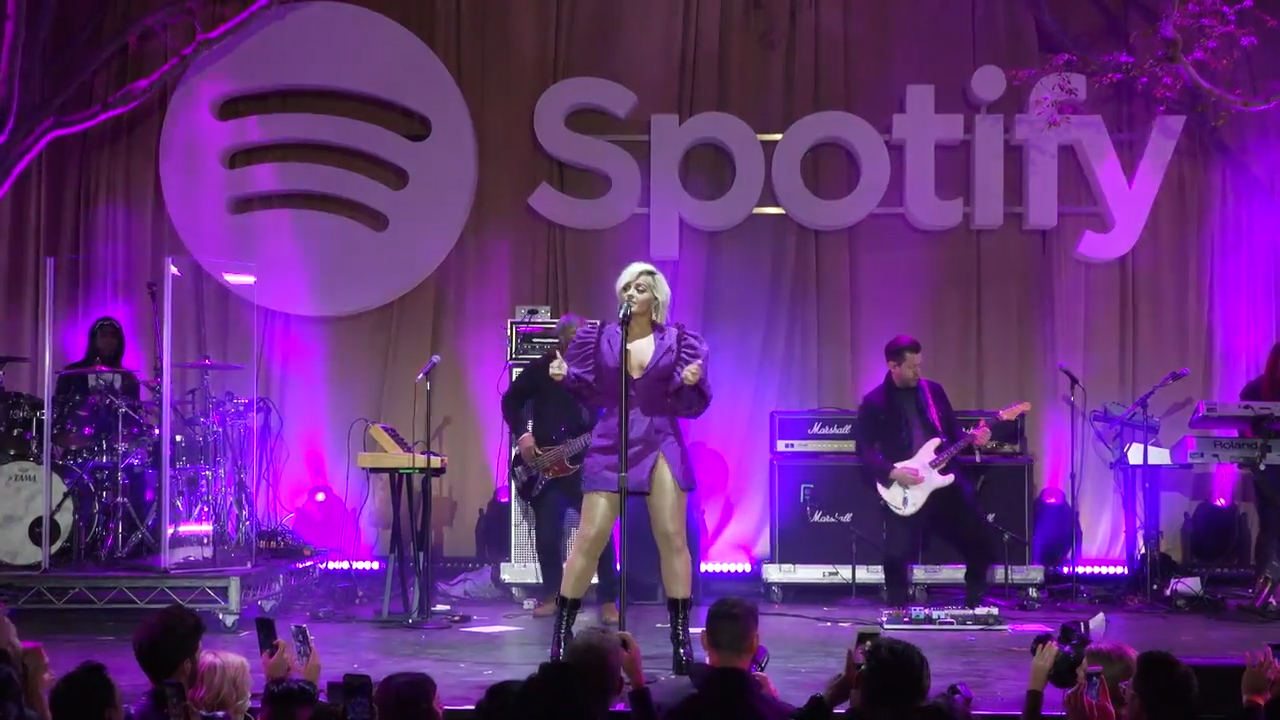 Bebe Rexha performs at a Spotify pre-Grammy event