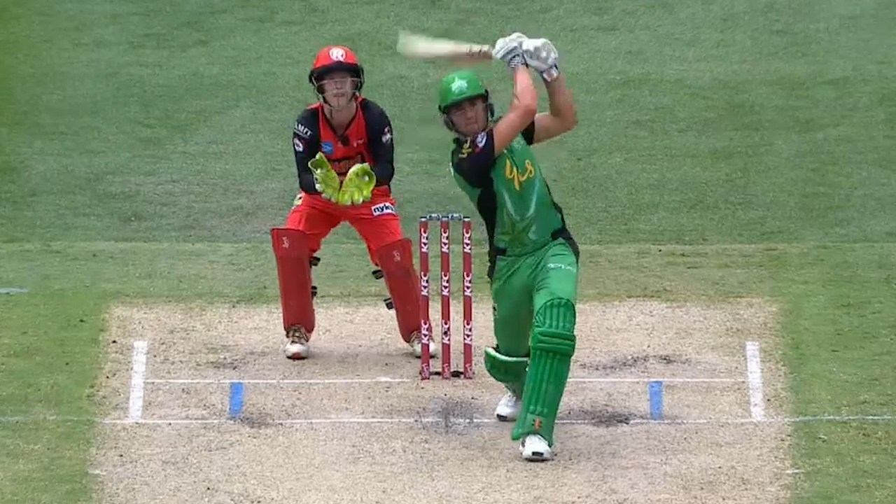 Stoinis slings it for six