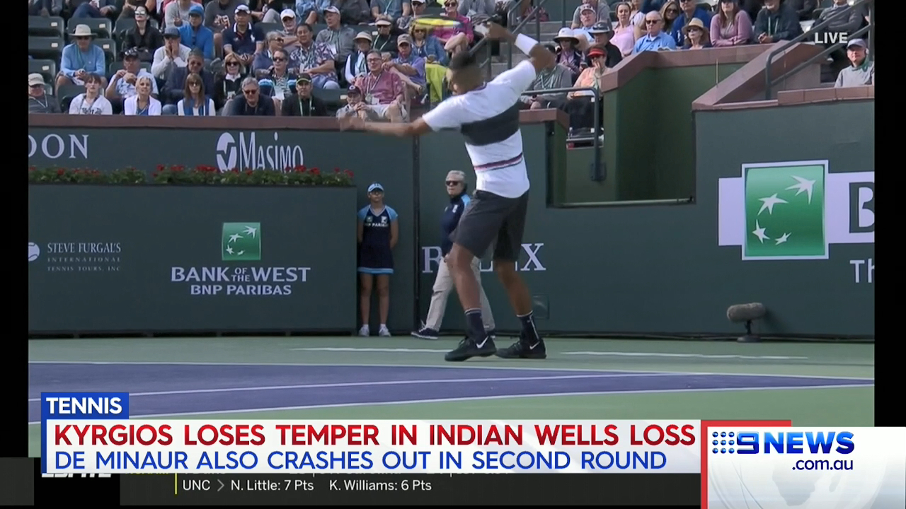 Kyrgios furious after Indian wells loss