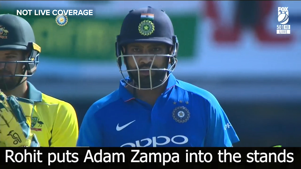 Rohit puts Zampa into the stands