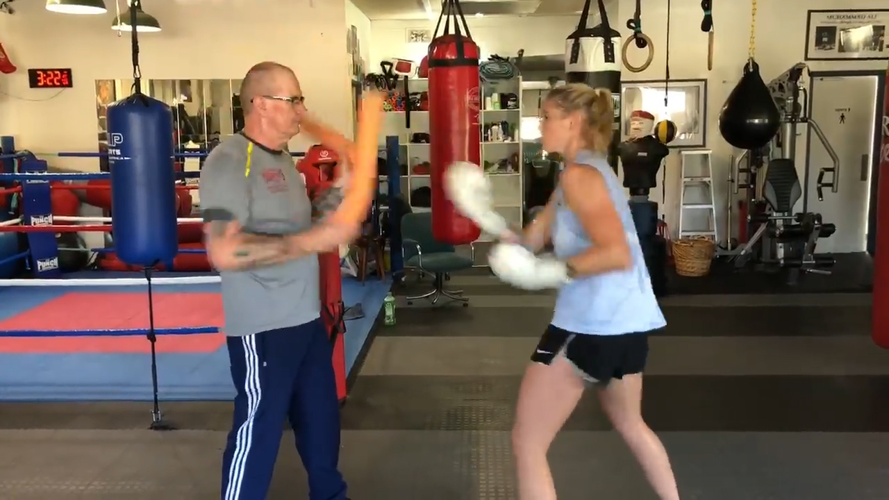 Tayla Harris shows off boxing skills
