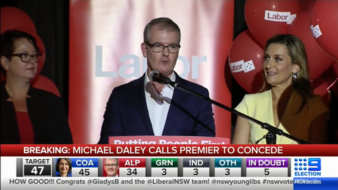 NSW Election: Michael Daley concedes to Gladys Berejiklian