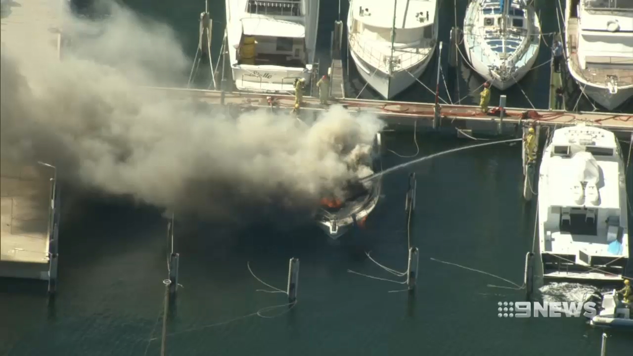Fire engulfs a $300,000 boat in Fremantle