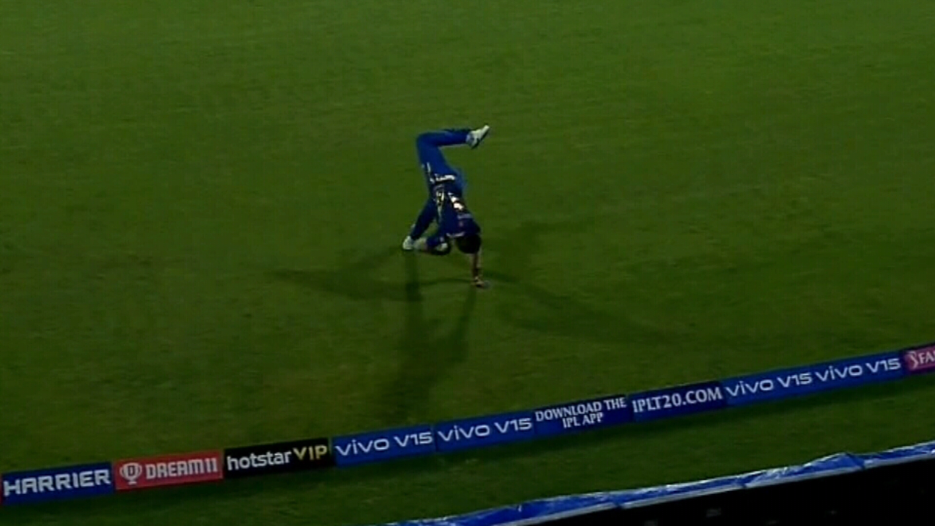 Pollard's incredible somersault catch in IPL