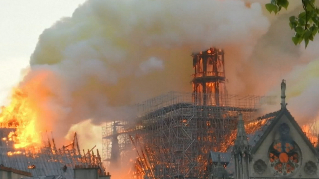 Notre dame fire: Cathedral burns in Paris France news