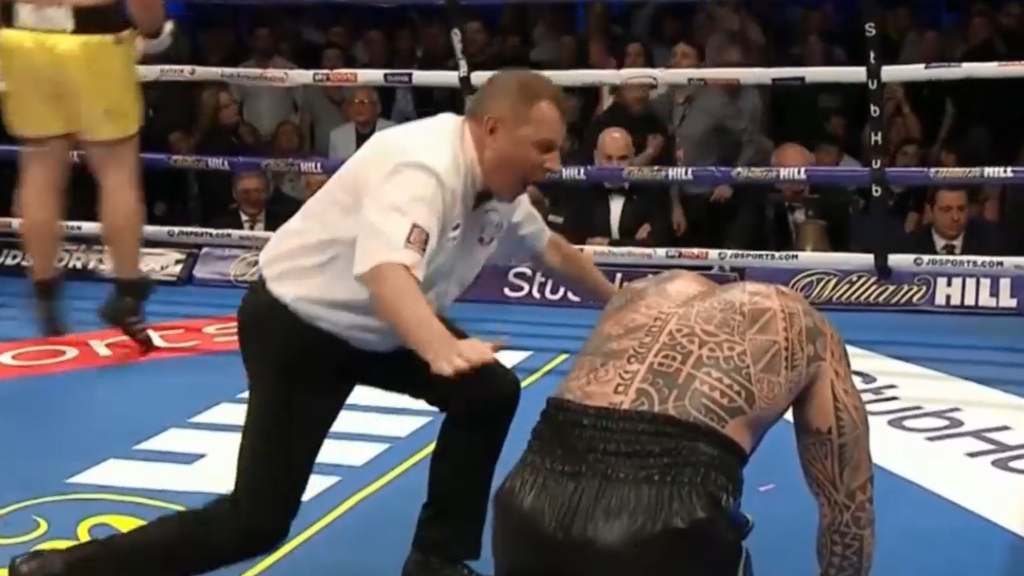 Browne goes down after brutal body shot