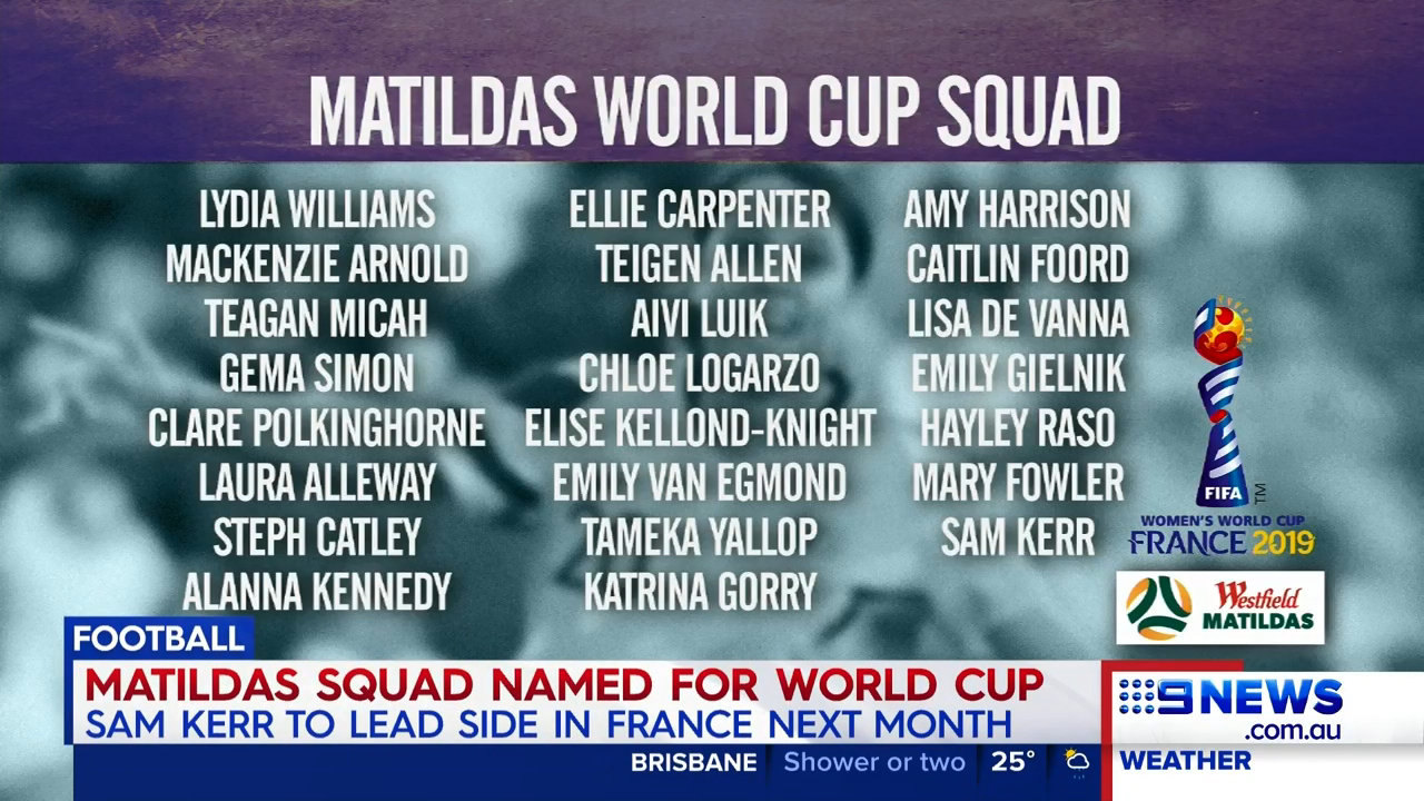 Matildas' Women's World Cup squad named