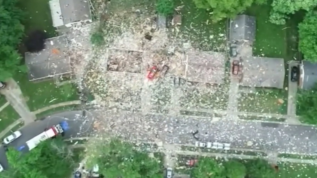 House in Indiana destroyed by explosion
