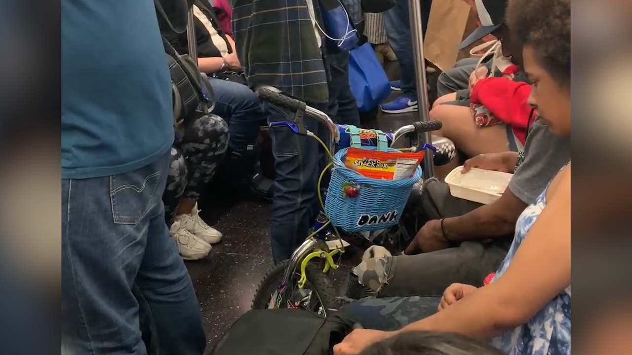 Man feeds rat Chinese takeaway on NYC subway