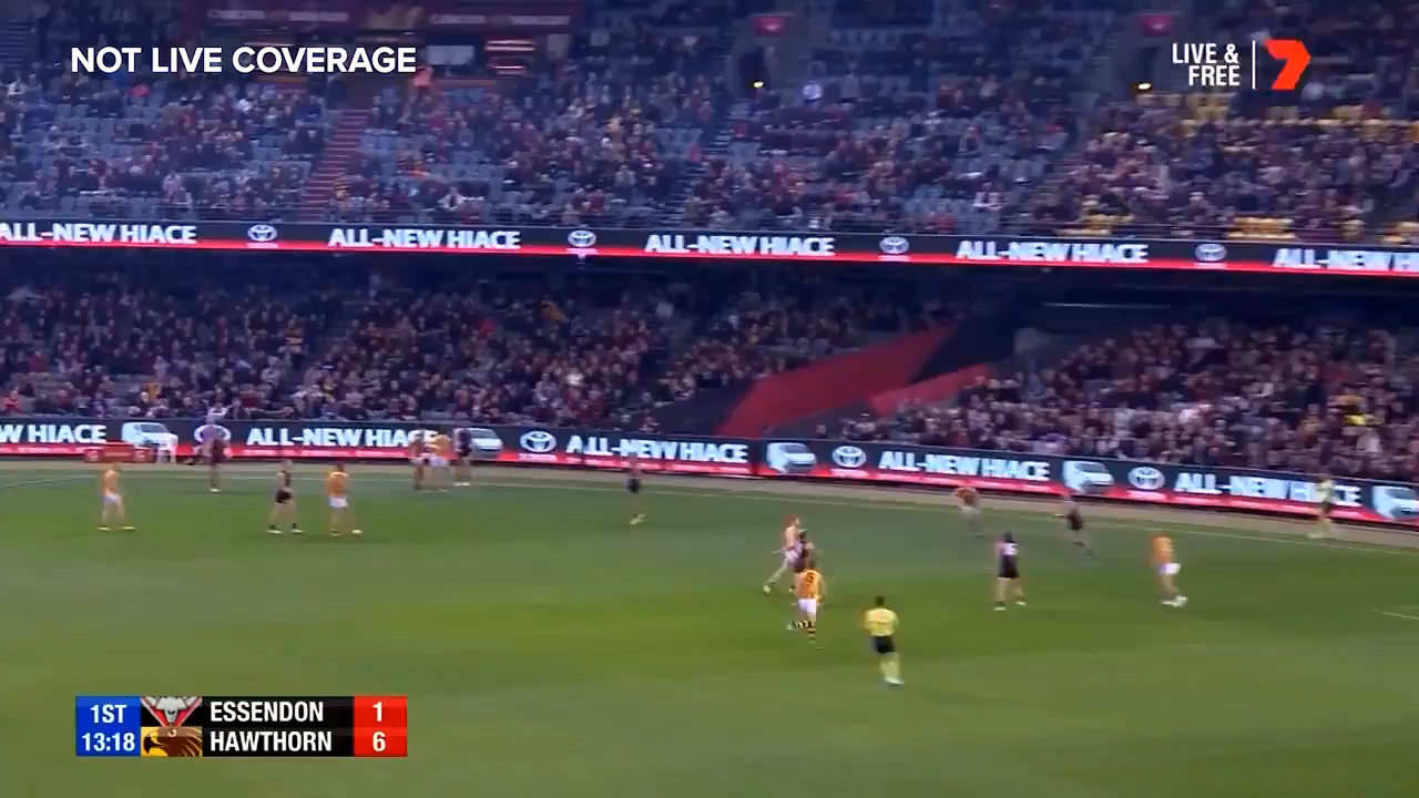 Essendon star Orazio Fantasia kicks the first goal of the night for the Bombers with a wonderful soccer kick