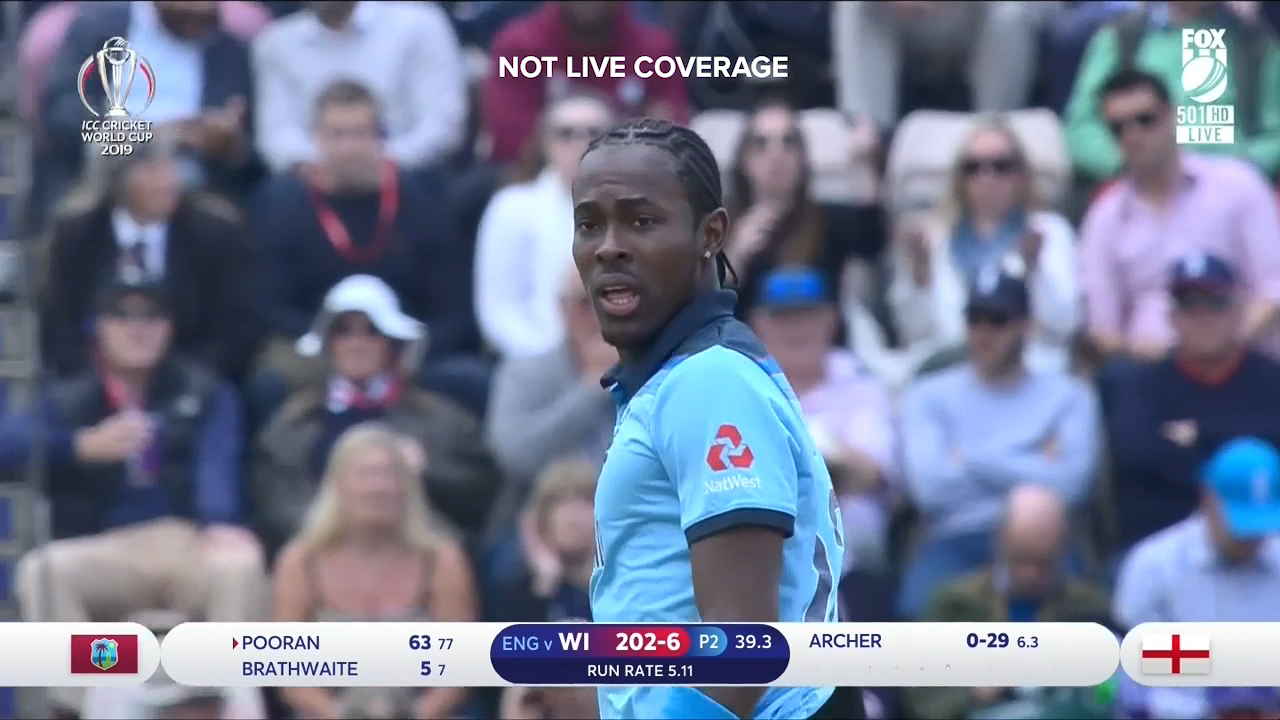 England's Jofra Archer was took two wickets in two balls, but was denied a hat-trick against the West Indies