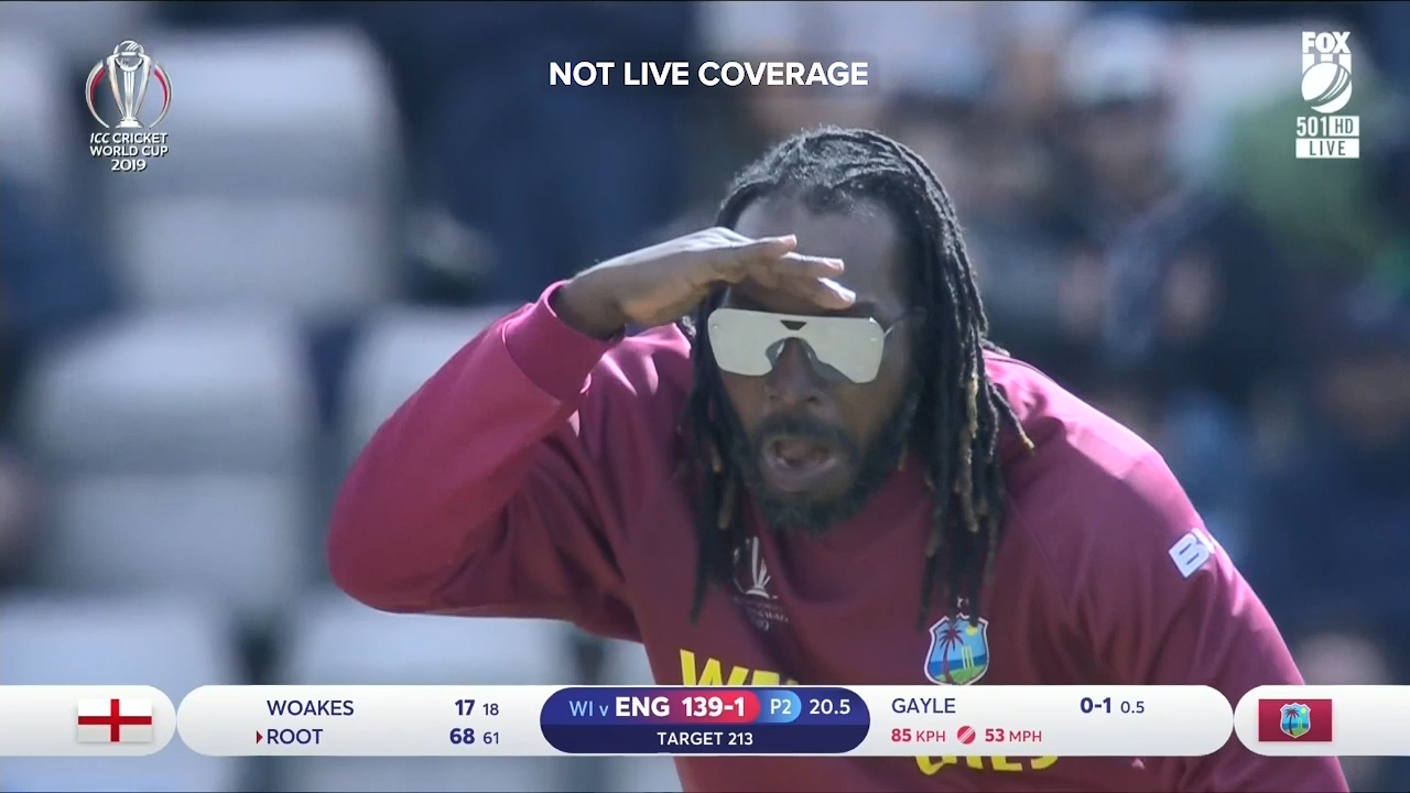 Chris Gayle put on a show for the crowd during his bowling spell against England