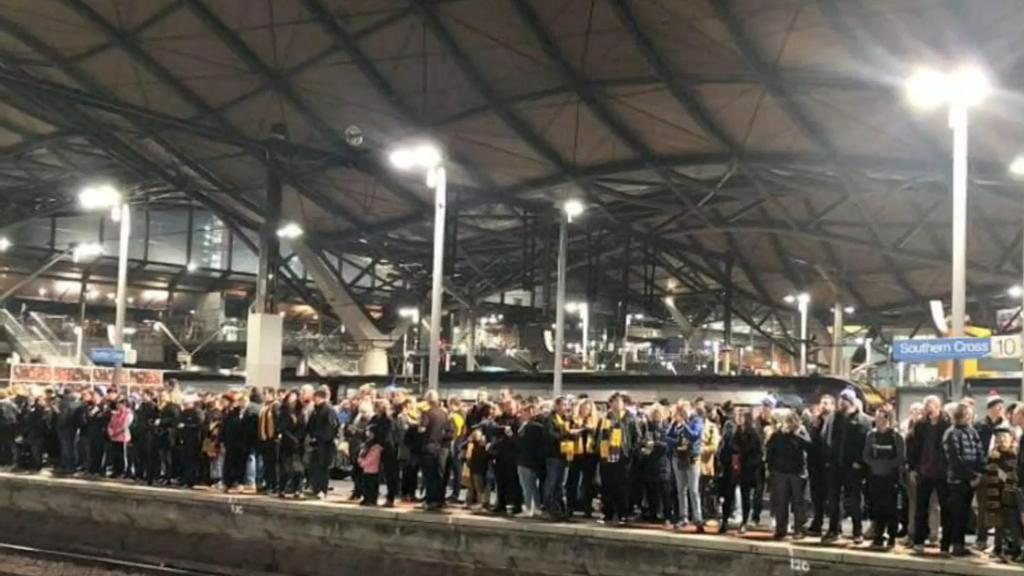 Footy fans stranded at train station