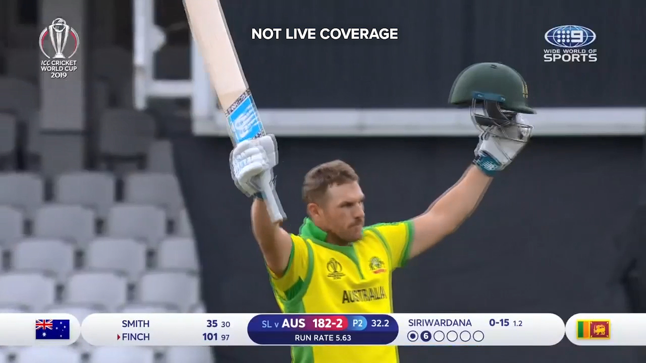 Australian captain Aaron Finch brought up his hundred against Sri Lanka with a six