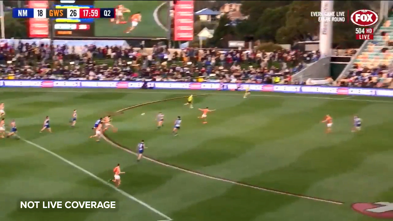 GWS Giants star Toby Greene gets the second quarter off to the perfect start with a running goal against the Kangaroos