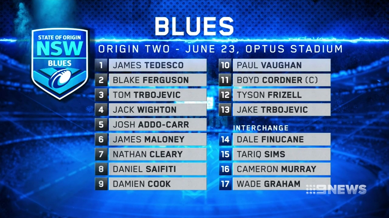 NSW Origin coach Brad Fittler reveals the seven changes made to his squad ahead of the trip to Perth for Game Two