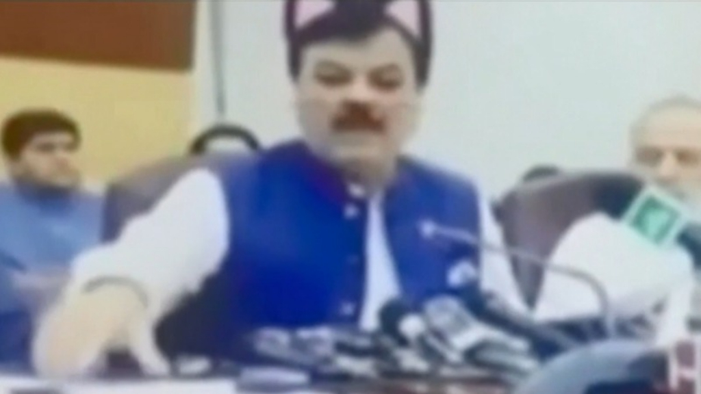 Pakistani politicians leave cat-face filter on for press conference