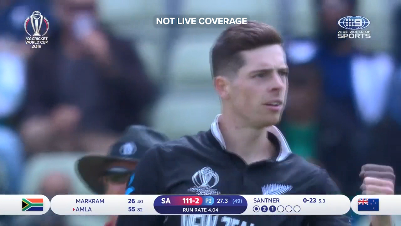 Mitchell Santner rattled Hashim Amla's castle with a sharp spinning delivery