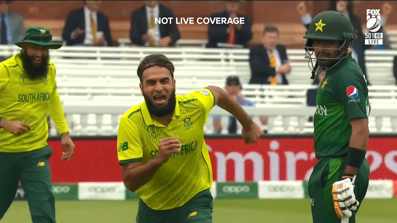 South Africa's Imran Tahir took a sharp return catch to dismiss Pakistan's Imam-ul-Haq