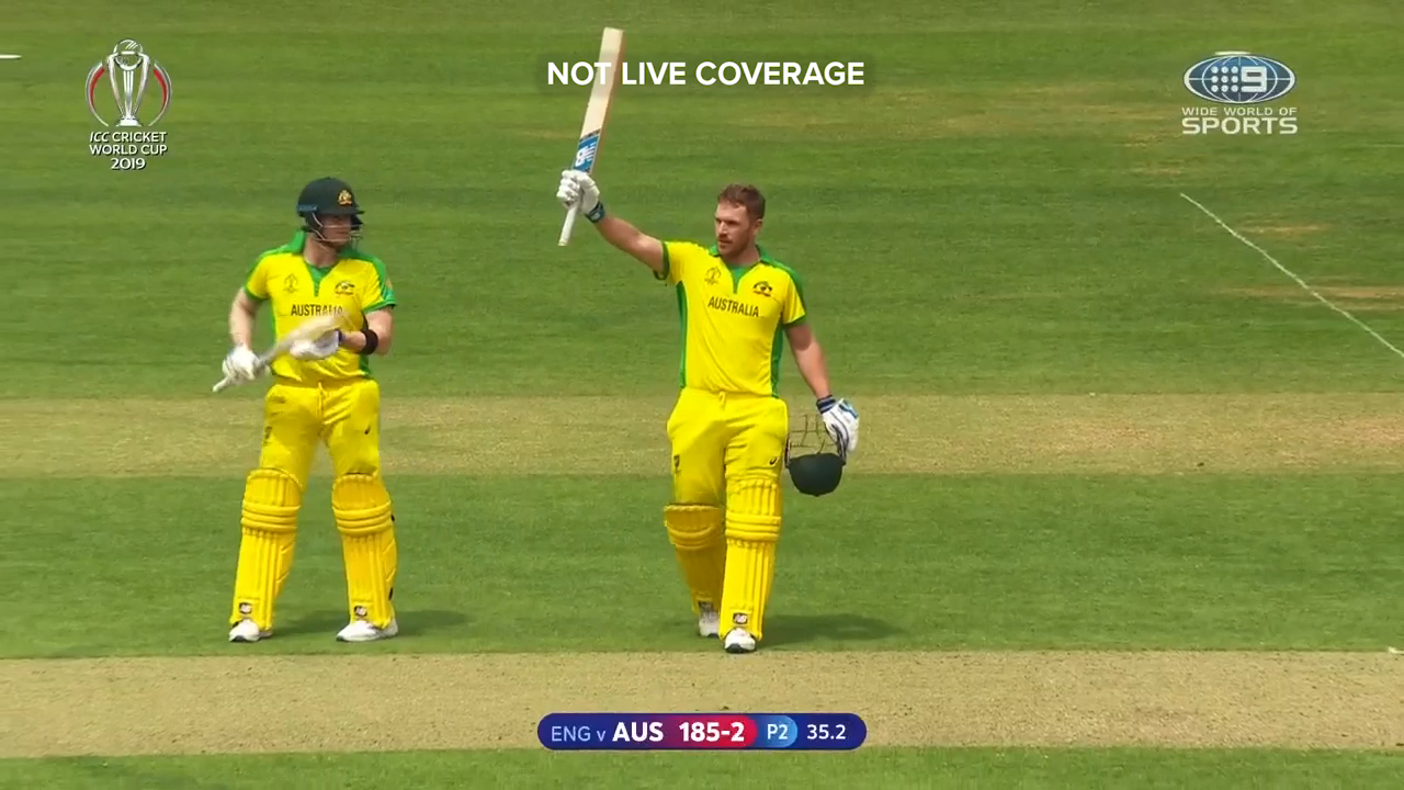 Aaron Finch brought up a century against England before being dismissed on the next ball