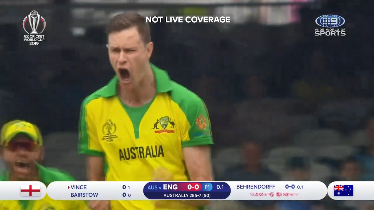 Jason Behrendorff took the wicket of James Vince in his first over
