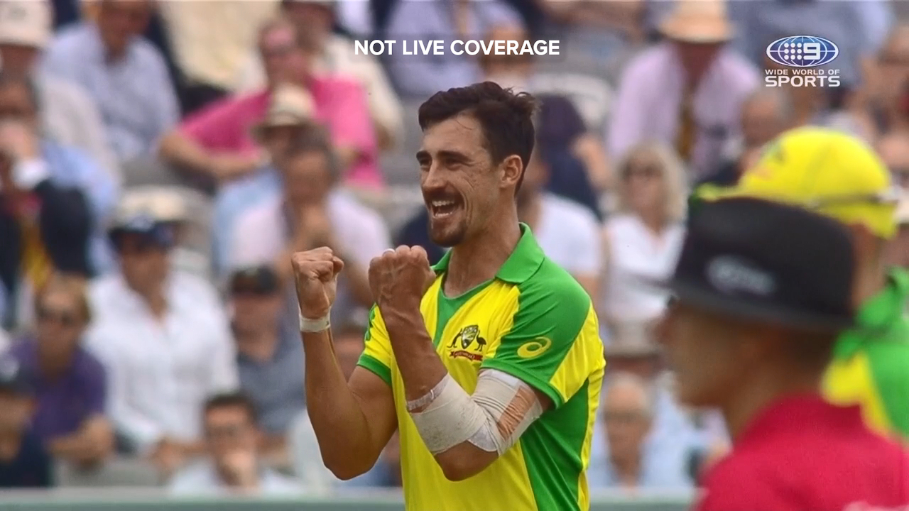 Mitchell Starc picked up the wickets of Joe Root and Eoin Morgan in his opening spell