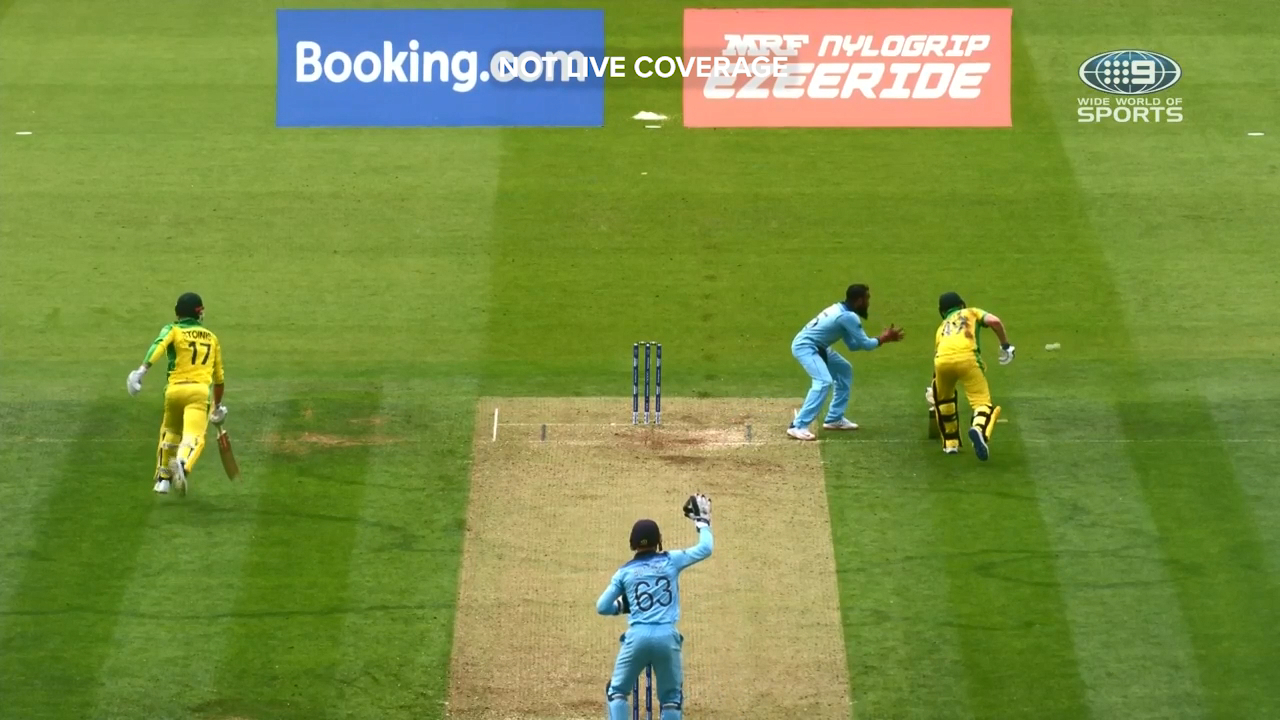 Marcus Stoinis and Steve Smith were involved in an awkward mix up against England.