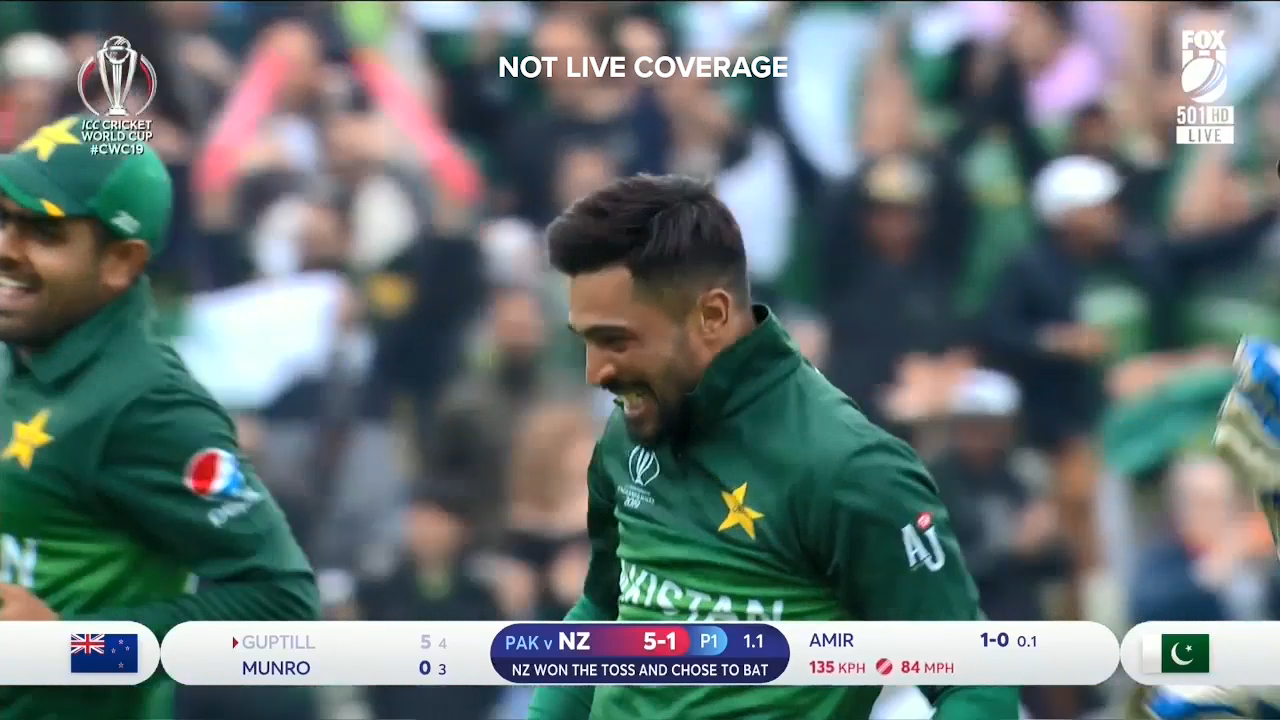 Mohammad Amir struck with his first ball against New Zealand, removing Martin Guptill