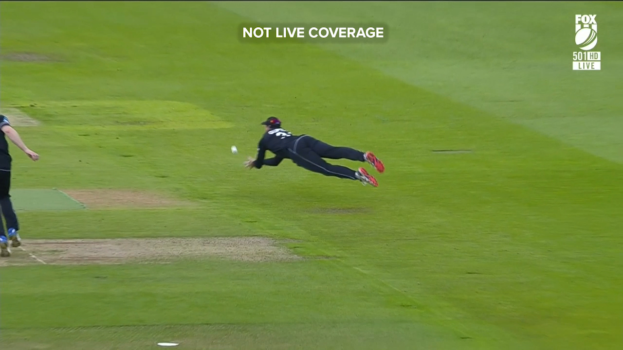 Martin Guptill took a smart diving catch to dismiss Imam-ul-Haq