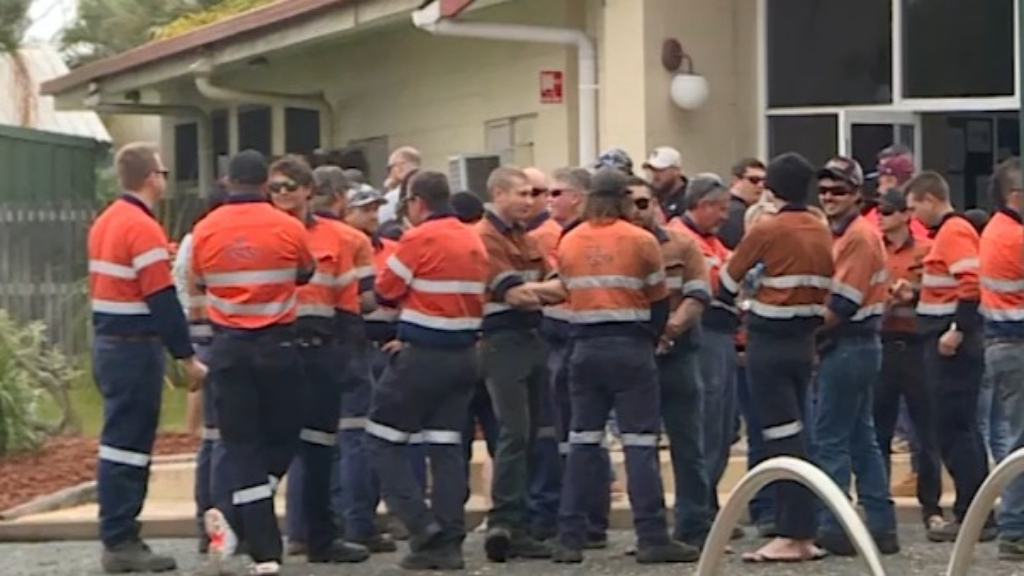 Workers congregate after colleague dies in mine accident