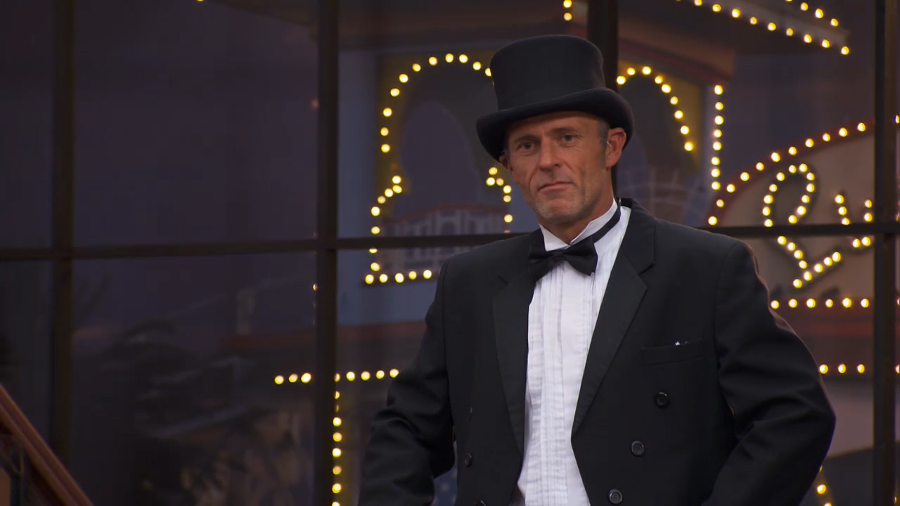 Norm is looking fancy when he makes a grand entrance