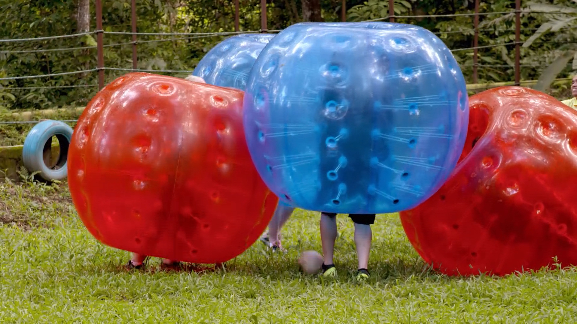 Chaos erupts when the Fren family tries bubble soccer