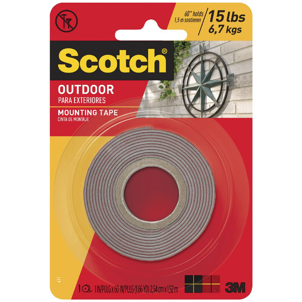 Scotch Permanent Outdoor Mounting Tape 25 4mm X 1 51m