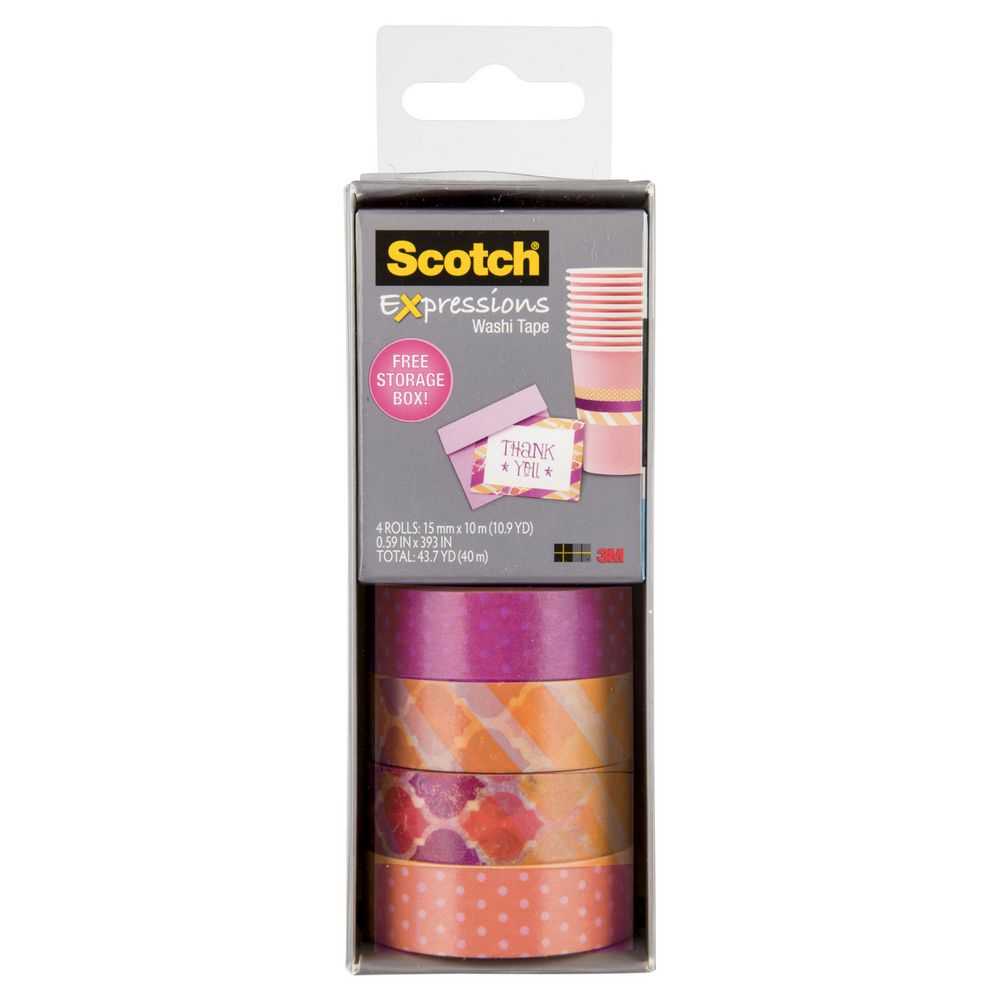 Washi Tape Scotch Expressions Washi Tape 4 Pack Yellow And Purple Officeworks
