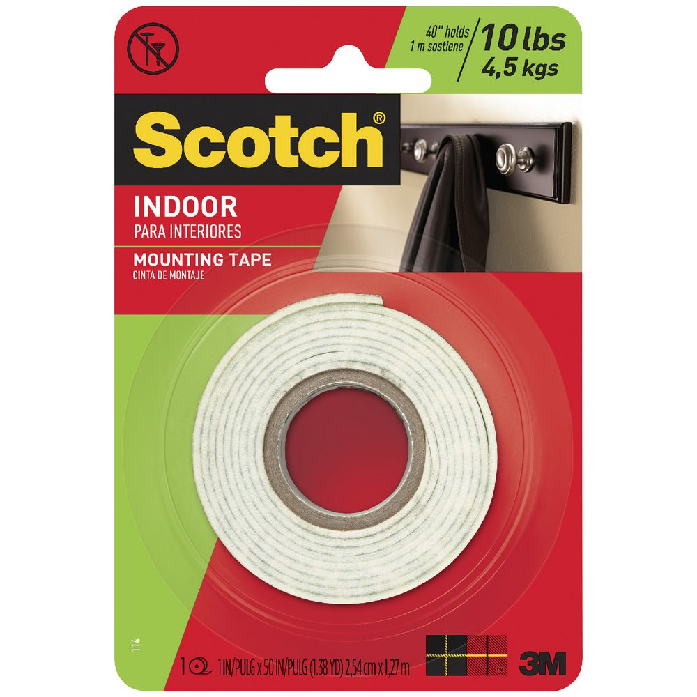 """Two Pack 3M 3M114  SCOTCH Indoor MOUNTING TAPE 1""""  X 50"""" ROLLs 100"""" Total"""