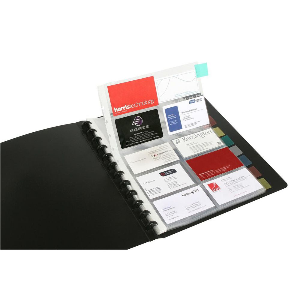 marbig a4 kwik zip business card book black  officeworks