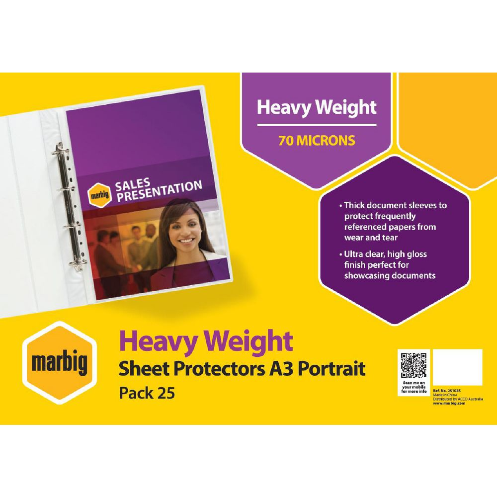 Marbig A3 Heavy Weight Portrait Sheet Protector 25 Pack