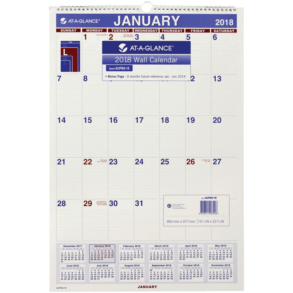 Year Calendar Officeworks : At a glance monthly wall calendar  mm officeworks