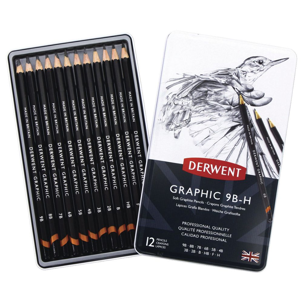 Artist Sketching Pencils Graded Pencils Drawing Pencils Graphite Pencil x 12 New