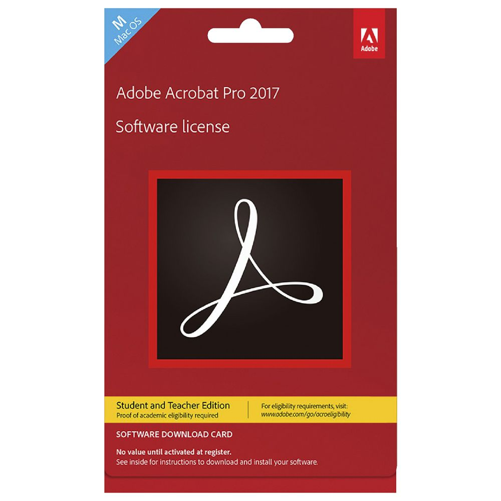 Adobe Acrobat Pro 2017 Mac Education Edition Card | Officeworks