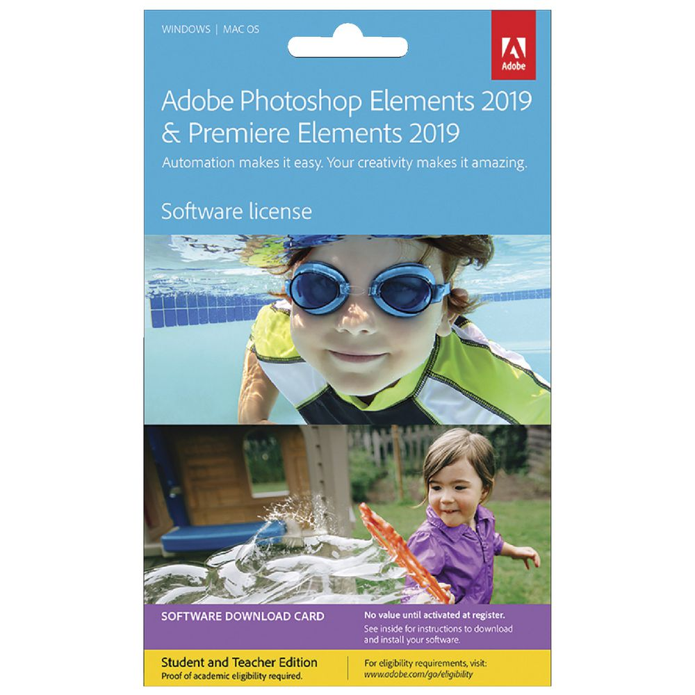 Adobe Photoshop and Premiere Elements 2019 Education Card