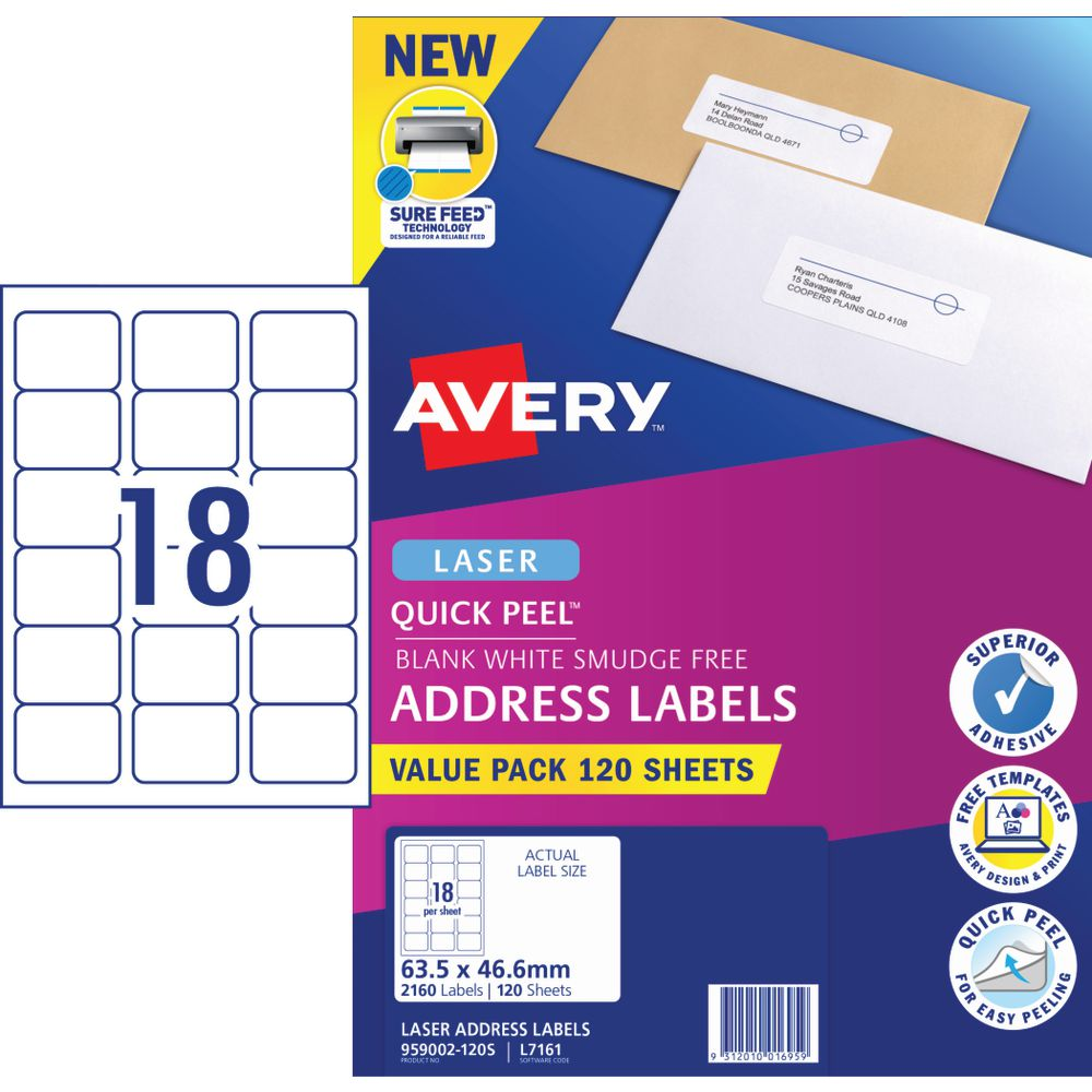 Avery 18UP Laser Address Labels with Sure Feed 120 Sheets