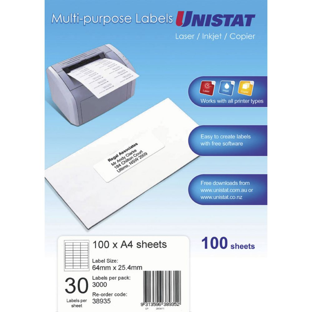 Unistat Printable Labels 100 Sheets 30 Per Page | Officeworks