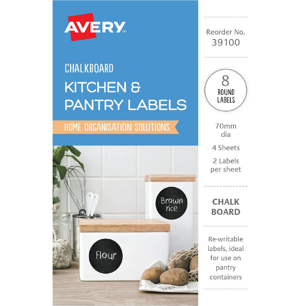 Avery Round Chalkboard Labels Black 8 Pack   Officeworks